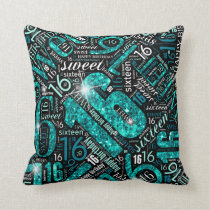 Sweet Sixteen Sparkle Word Cloud Teal ID265 Throw Pillow