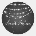Sweet Sixteen Sparkling Chain Black Classic Round Sticker