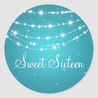 Sweet Sixteen Sparkling Chain Blue Classic Round Sticker
