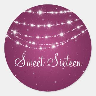 Sweet Sixteen Sparkling Chain Pink Classic Round Sticker