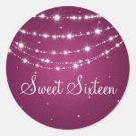 Sweet Sixteen Sparkling Chain Pink Round Sticker
