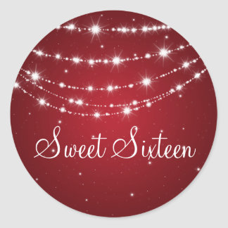 Sweet Sixteen Sparkling Chain Red Classic Round Sticker