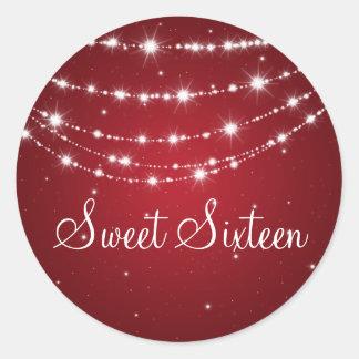 Sweet Sixteen Sparkling Chain Red Classic Round Sticker
