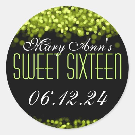Sweet Sixteen Sparkling Lights Green Classic Round Sticker