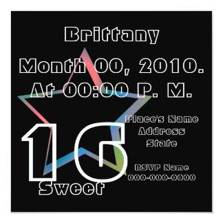 "Sweet Sixteen Stardom Invitation-Customize 5.25"" Square Invitation Card"
