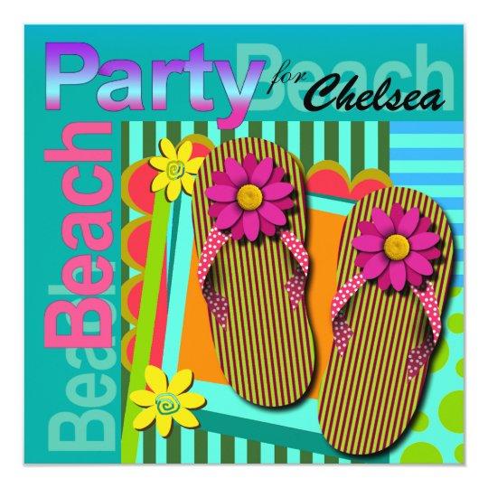 Sweet Sixteen Summer Fun Flip Flops - Beach Party! Card
