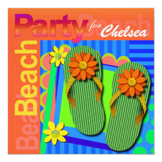Sweet Sixteen Summer Fun Flip Flops - Beach Party! Personalized Invites