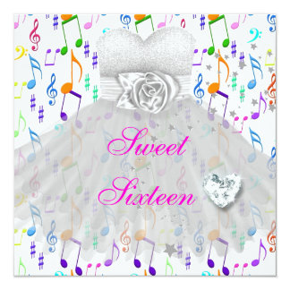 Sweet Sixteen Sweet 16 16th Birthday Party Music Card