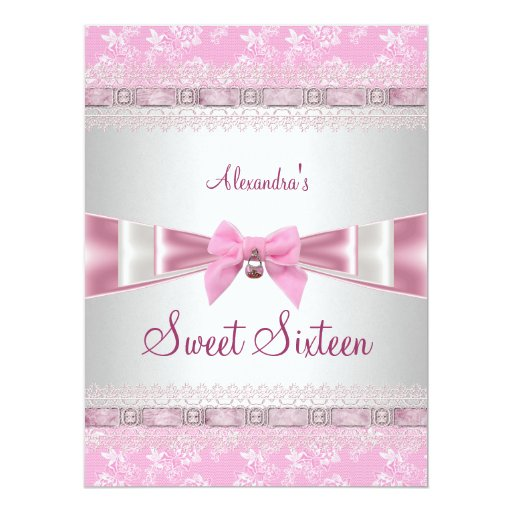 Sweet Sixteen Sweet 16 16th Birthday Party Pink 6.5x8.75 Paper Invitation Card