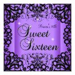 Sweet Sixteen Sweet 16 Birthday Black Purple Card