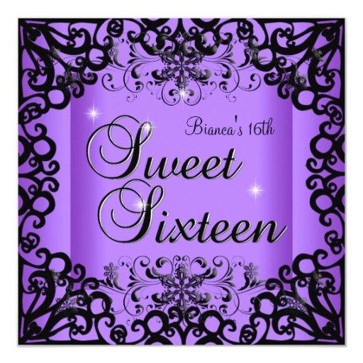 Happy 16th Birthday Gift Ideas Spaceform Sweet Sixteen: Sweet Sixteen Sweet 16 Birthday Black Purple Card