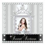 "Sweet Sixteen Sweet 16 Birthday Party Black White 5.25"" Square Invitation Card"