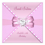 Sweet Sixteen Sweet 16 Birthday Party Pink Spot Custom Announcement