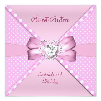 "Sweet Sixteen Sweet 16 Birthday Party Pink Spot 5.25"" Square Invitation Card"