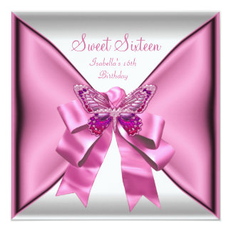 "Sweet Sixteen Sweet 16 Birthday Party Pretty Pink 5.25"" Square Invitation Card"