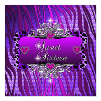 Sweet Sixteen Sweet 16 Birthday Party Purple Pink 5.25x5.25 Square Paper Invitation Card