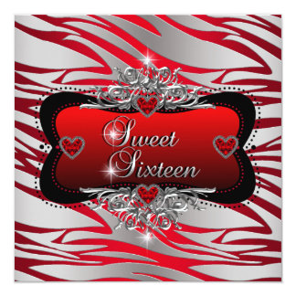 Sweet Sixteen Sweet 16 Birthday Party Red Card