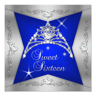 Sweet Sixteen Sweet 16 Blue Silver Tiara 5.25x5.25 Square Paper Invitation Card