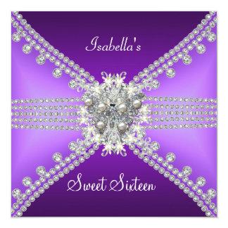 Sweet Sixteen Sweet 16 Butterfly Purple Silver 3 Invite