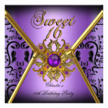 Sweet Sixteen Sweet 16 Damask Purple Gold Black Invitation