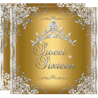 Sweet Sixteen Sweet 16 Gold White Silver Tiara Card