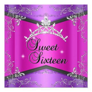Sweet Sixteen Sweet 16 Hot Pink Purple Tiara Announcements