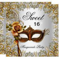 Sweet Sixteen Sweet 16 Masquerade Gold 2 Invitation