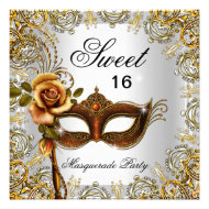 Sweet Sixteen Sweet 16 Masquerade Gold 2 Personalized Announcements