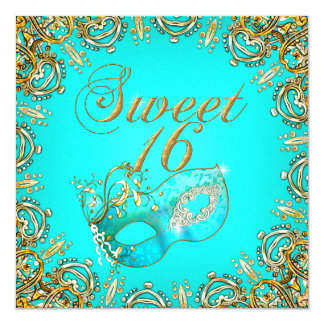 Sweet Sixteen Sweet 16 Masquerade Gold Teal 5.25x5.25 Square Paper Invitation Card