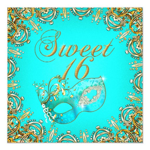 Sweet Sixteen Sweet 16 Masquerade Gold Teal Announcements