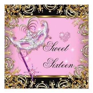 Sweet Sixteen Sweet 16 Masquerade Pink Gold Black Card