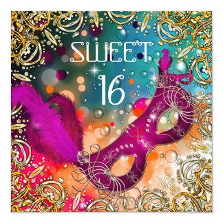 Sweet Sixteen Sweet 16 Masquerade Pink Teal Announcements