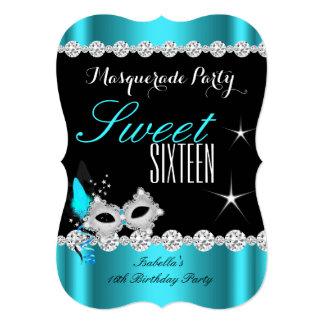 Sweet Sixteen Sweet 16 Masquerade Teal Mask 2 Card