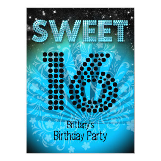 Sweet Sixteen Sweet 16 Party Blue Teal Black Card