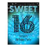 Sweet Sixteen Sweet 16 Party Blue Teal Black Personalized Invitations