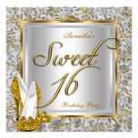 Sweet Sixteen Sweet 16 Party Gold Silver White Announcement