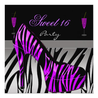 Sweet Sixteen sweet 16 Party Shoes Purple Zebra 5.25x5.25 Square Paper Invitation Card