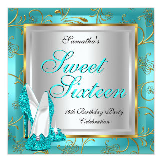 Sweet Sixteen Sweet 16 Party Teal Blue Gold Silver Card