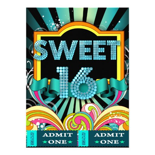Sweet Sixteen Sweet 16 Party Ticket Admission Custom Invite