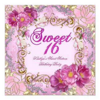 Sweet Sixteen Sweet 16 Pink Damask Gold Flowers Card