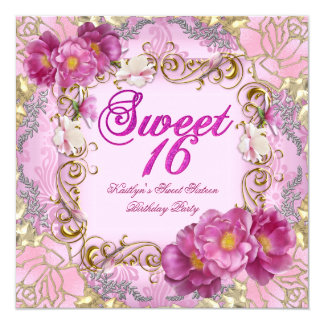 Sweet Sixteen Sweet 16 Pink Damask Gold Flowers 5.25x5.25 Square Paper Invitation Card