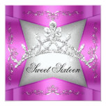Sweet Sixteen Sweet 16 Pink Silver Tiara Personalized Invites