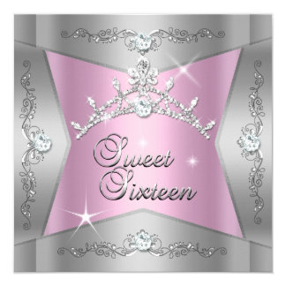 Sweet Sixteen Sweet 16 Pink Silver Tiara 5.25x5.25 Square Paper Invitation Card