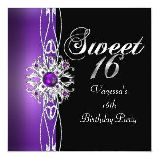 Sweet Sixteen Sweet 16 Purple Silver Black 5.25x5.25 Square Paper Invitation Card