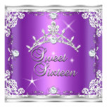 Sweet Sixteen Sweet 16 Purple Silver Diamond Tiara Personalized Announcements