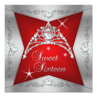 Sweet Sixteen Sweet 16 Red Silver Tiara 5.25x5.25 Square Paper Invitation Card