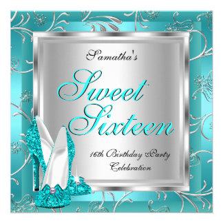 Sweet Sixteen Sweet 16 Teal Blue Silver White Custom Invite
