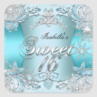 Sweet Sixteen Sweet 16 Teal snowflake Silver 2 Square Sticker