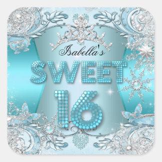 Sweet Sixteen Sweet 16 Teal snowflake Silver Tiara Square Sticker