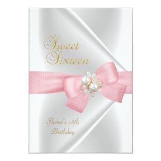 Sweet Sixteen Sweet 16 White Pearl Jewel Pink Bow Card
